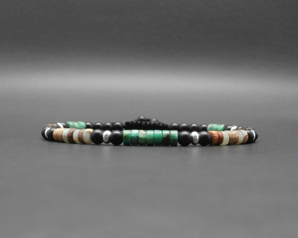 Bracelet fin homme, tressé, pierres gemmes, heishi de turquoise africaine, bronzite, jaspe, onyx mat, rondelles en argent Ø 4 mm R878