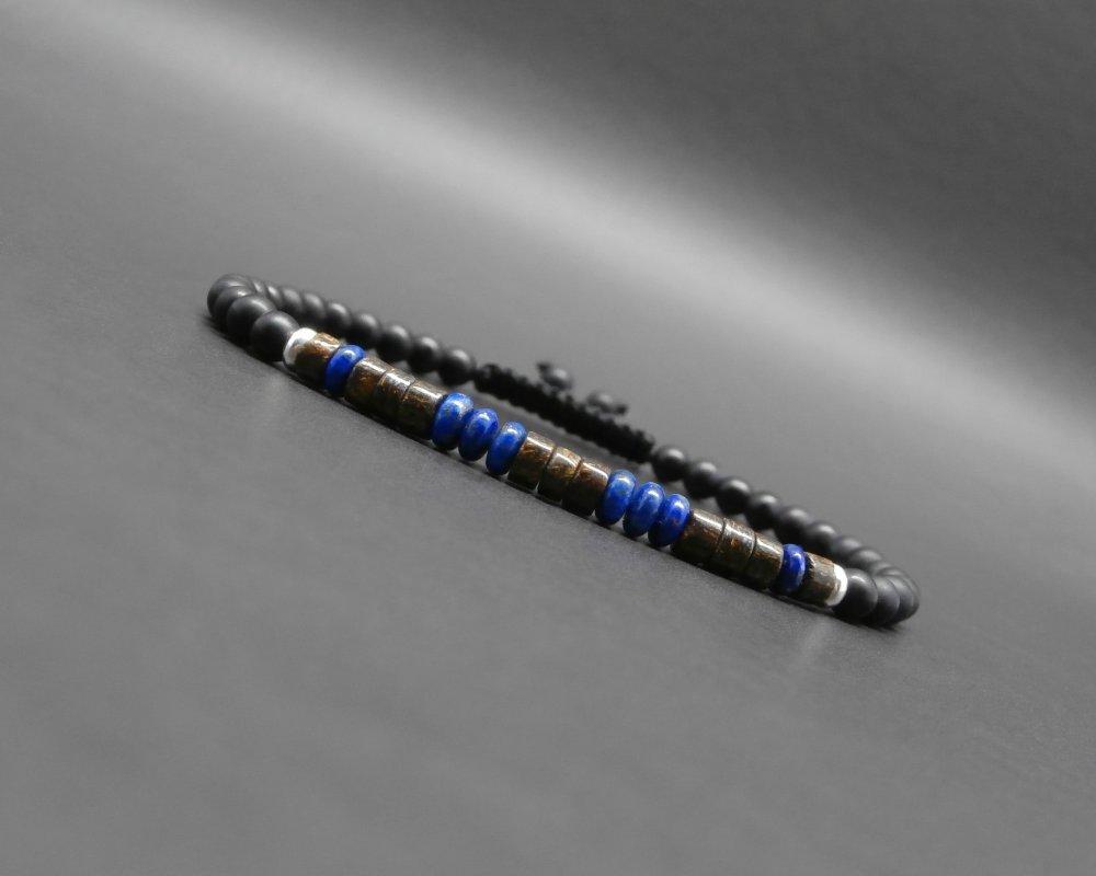 Bracelet fin homme, tressé, pierres gemmes, rondelles/heishi en lapis lazuli, bronzite, onyx noir mat, perles en argent Ø 4 mm R877