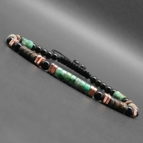 Bracelet fin homme/femme, tressé, gemmes, heishi turquoise africaine, bronzite, jaspe, onyx, triangles en cuivre éthiopiens ø 4 mm r81