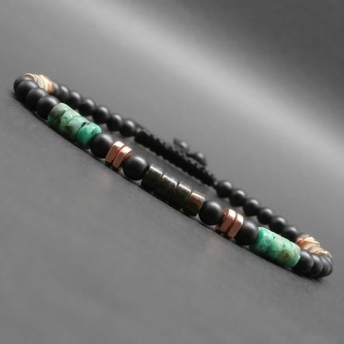 Bracelet fin homme, heishi de bronzite, turquoise africaine, jaspe impression, onyx mat, triangles en cuivre éthiopiennes ø 4 mm r879