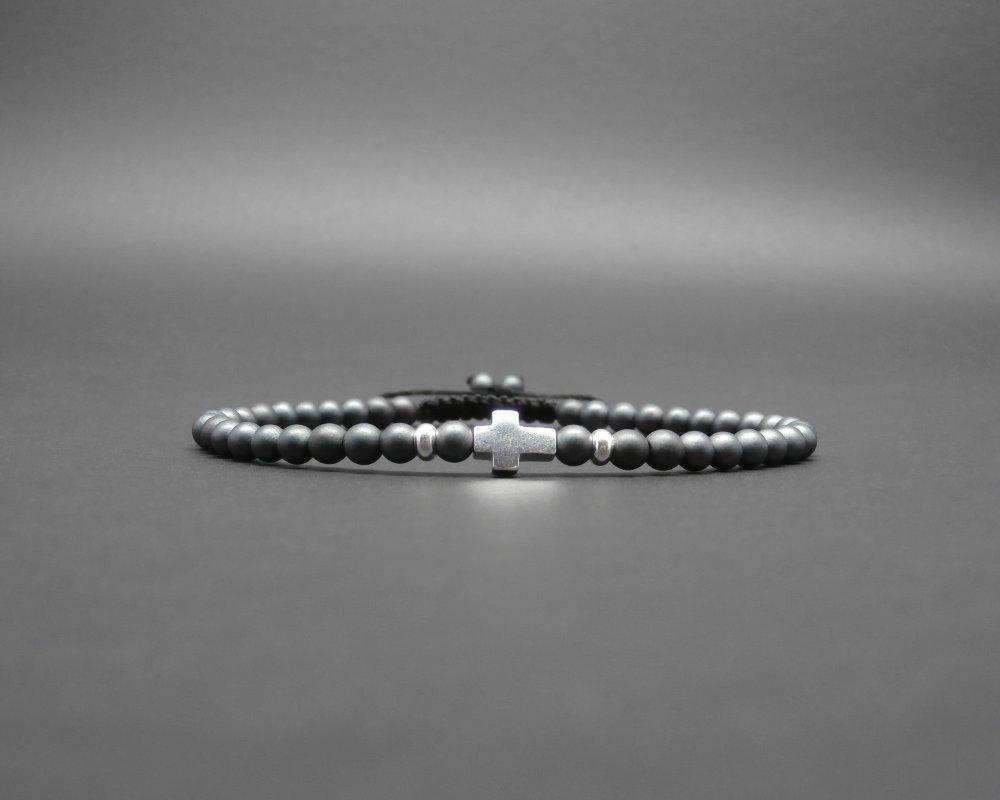 Bracelet minimaliste, tressé, pierres gemmes, hématite mate, rondelles et croix en argent sterling Ø 4 mm R907
