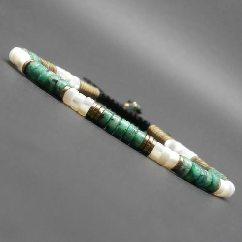 Bracelet fin, gemmes, heishi de nacre, turquoise africaine, rondelles en hématite dorée vieillie, tressé fil nylon ciré ø4 mm r404