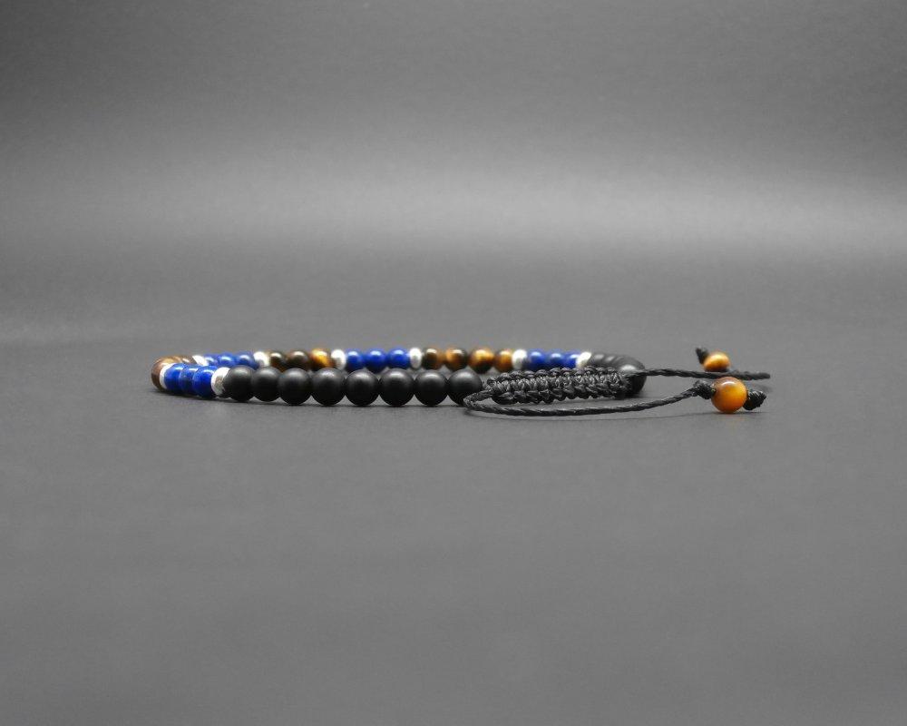 Bracelet fin homme, pierres gemmes, oeil de tigre, lapis lazuli naturel, onyx mat, rondelles en argent Ø 4 mm R292