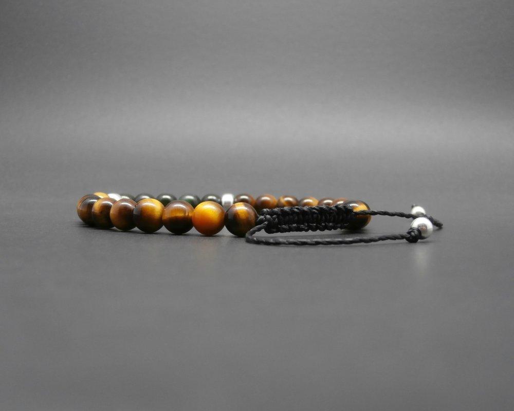 Bracelet homme tressé, jade néphrite du Canada, pierres gemmes, oeil de tigre, perles en argent sterling Ø 6 mm R575