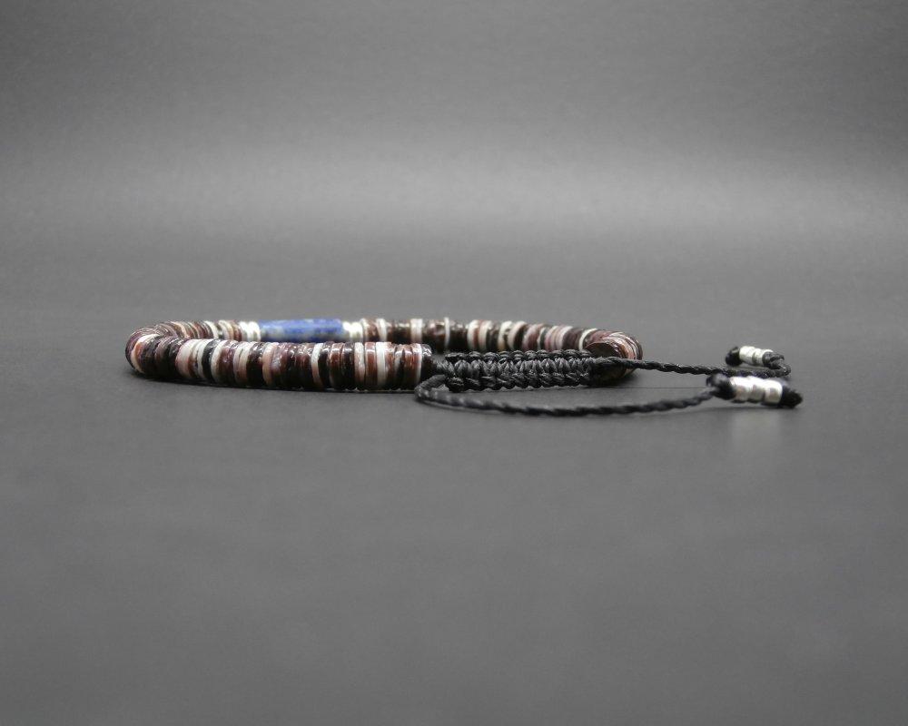 Bracelet tressé homme, heishi de coquillage, cylindre en Lapis lazuli naturel dépoli, rondelles en argent sterling Ø 4/5 mm R776