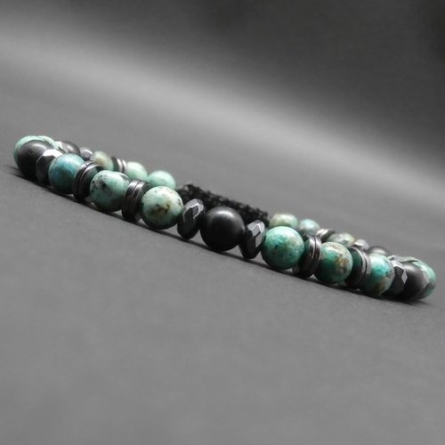 Bracelet homme tressé, pierres gemmes, tourmaline noire mate, turquoise africaine, rondelles et heishi en hématite ø 6 mm r325