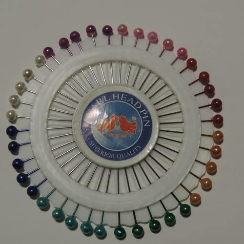 Rosace de 40 épingles à tête perles colorées nacrées