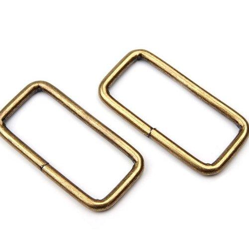 Lot 2 anneaux métal forme rectangle 13x32mm pour sangle de 3 cm / 2 bronze