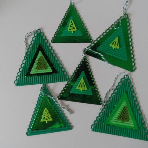 Lot de 6 étiquettes triangulaires , thème noël , étiquettes pour paquets cadeaux ,décorations sapin