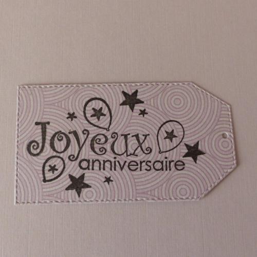 Etiquette tag  anniversaire  , embellissement scrapbooking .