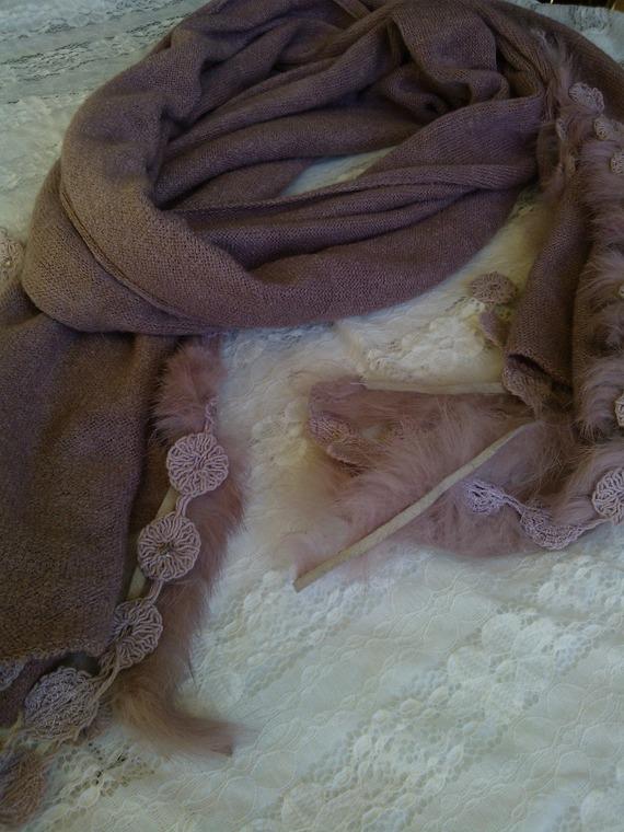Écharpe en angora coton et acrylique couleur rose poudre