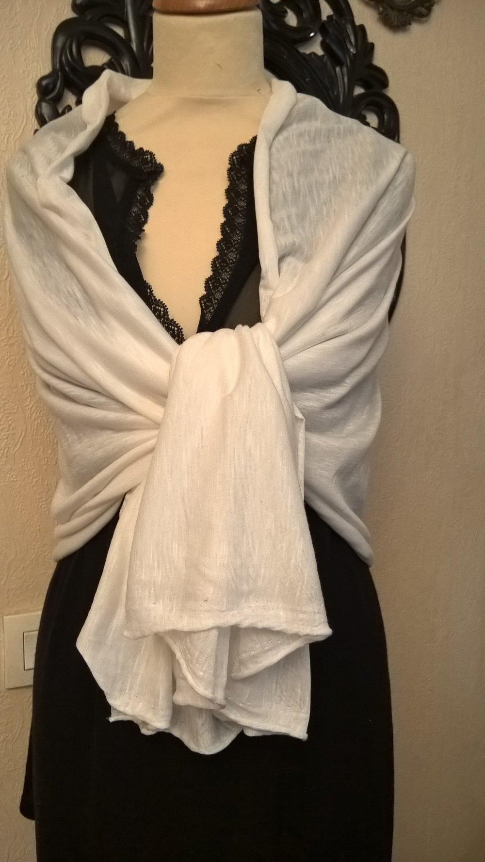 Étole de mariage,en viscose,coton,couleur blanche,étole femme,étole fille,écharpe femme,écharpe fille