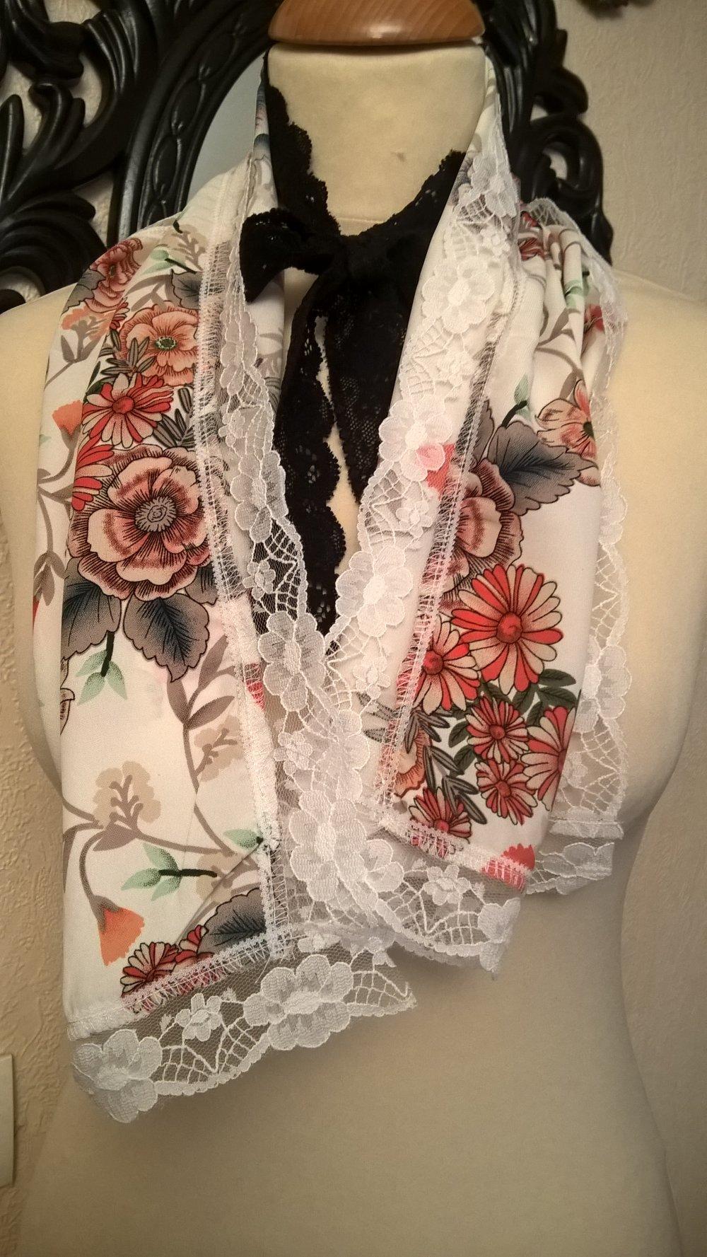 Étole de mariage,en viscose imprimé,dentelle blanche,écharpe femme