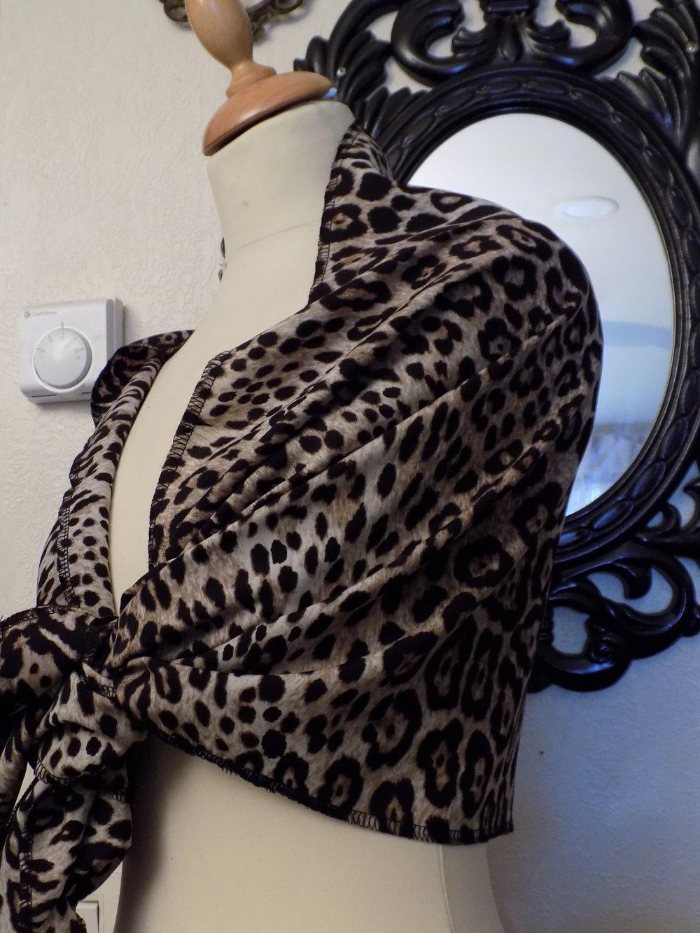 Étole de mariage,en tissu imprimé,motifs panthère,de couleur beige et noir,écharpe femme,écharpe fille