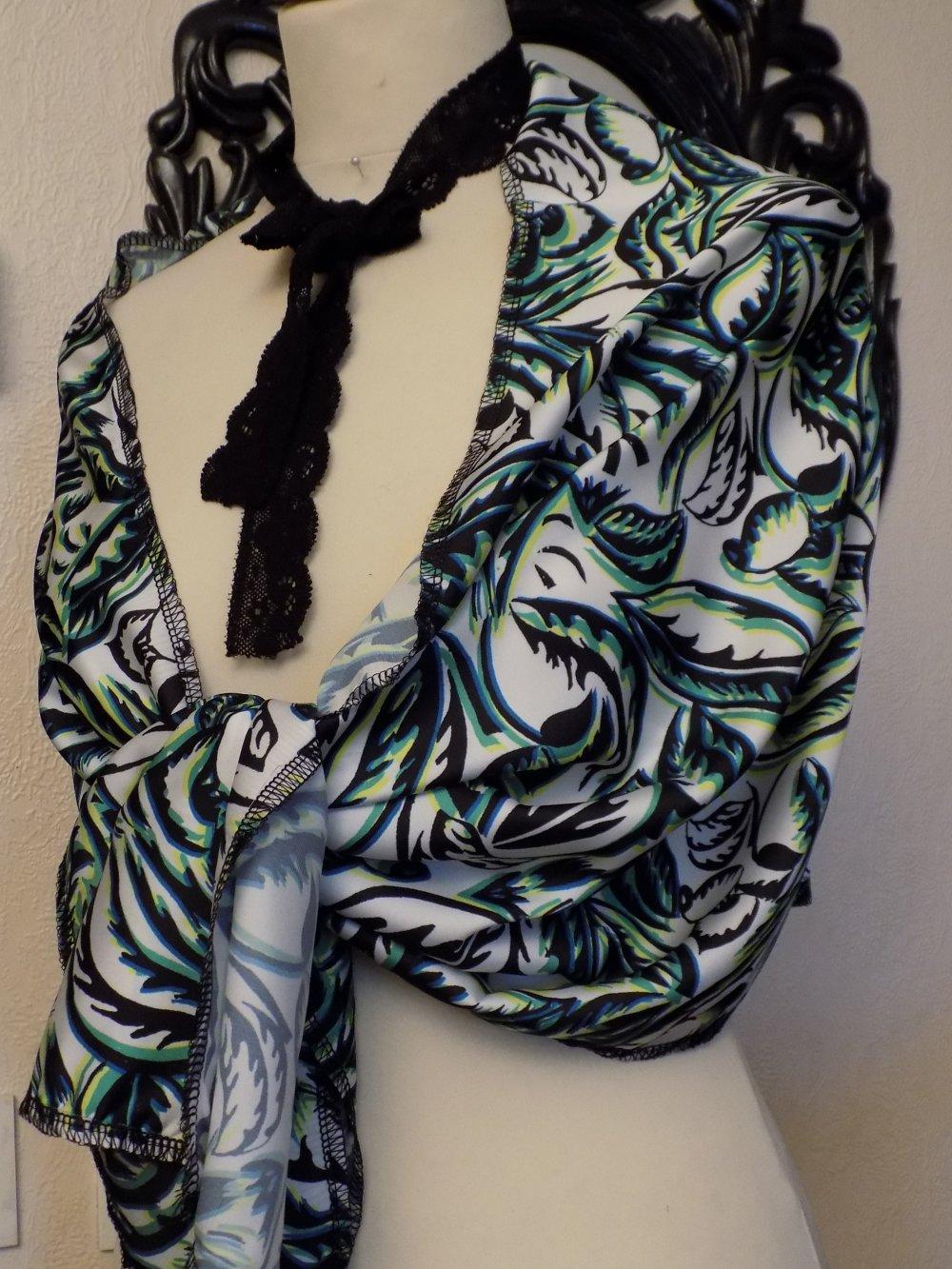 Étole de mariage,en tissu de viscose imprimé,de couleur blanc,vert et noir,écharpe femme,écharpe fille