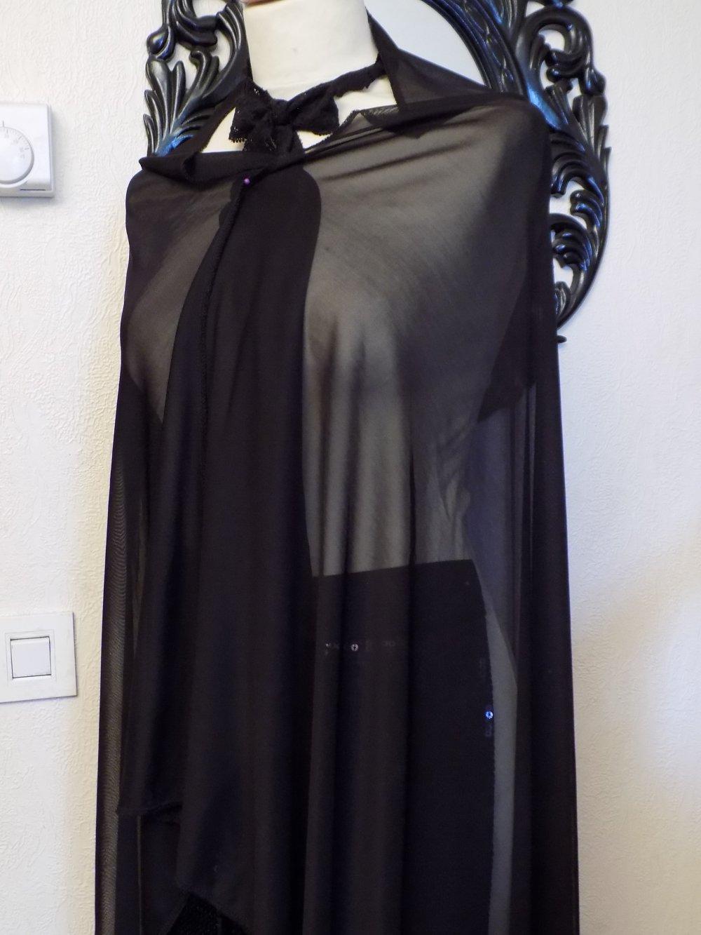 Étole de mariage,en tissu de résille,de couleur noir,écharpe femme