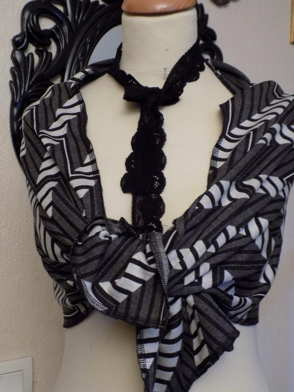 Étole de mariage,en tissu motifs géométrique,de couleur gris et noir,écharpe femme,écharpe fille,cadeau femme