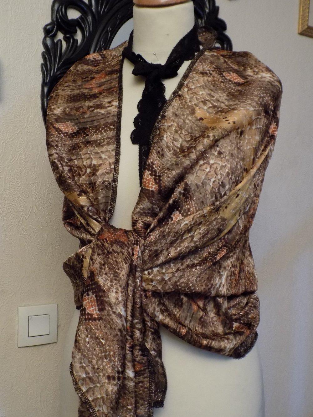 Étole de mariage,en tissu de mousseline,de couleur beige et marron,écharpe femme,écharpe fille
