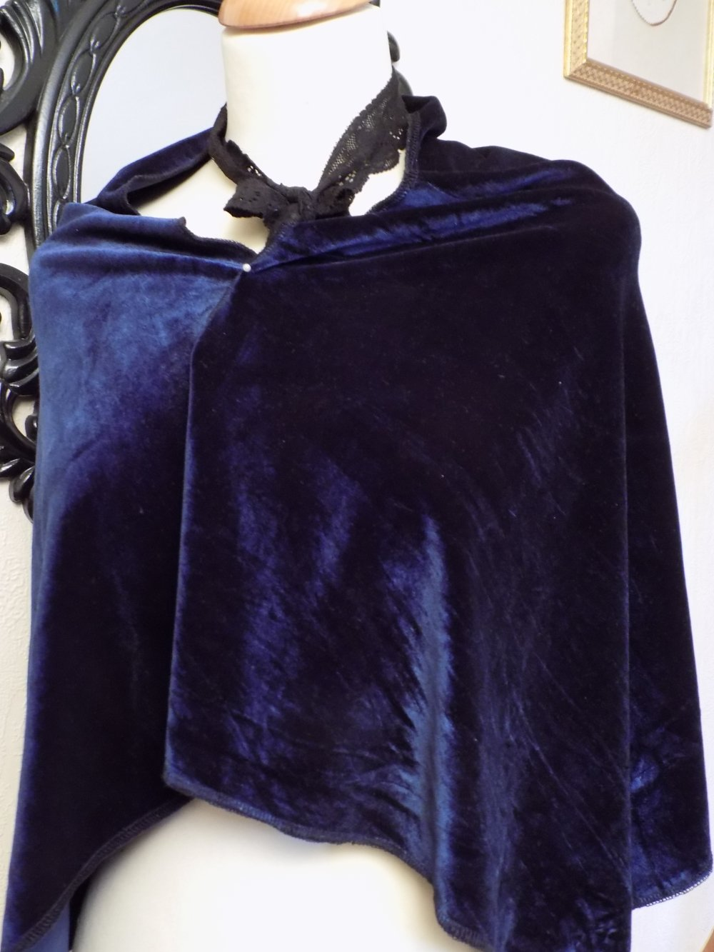 Étole de mariage,en tissu de velours,de couleur bleu,écharpe femme