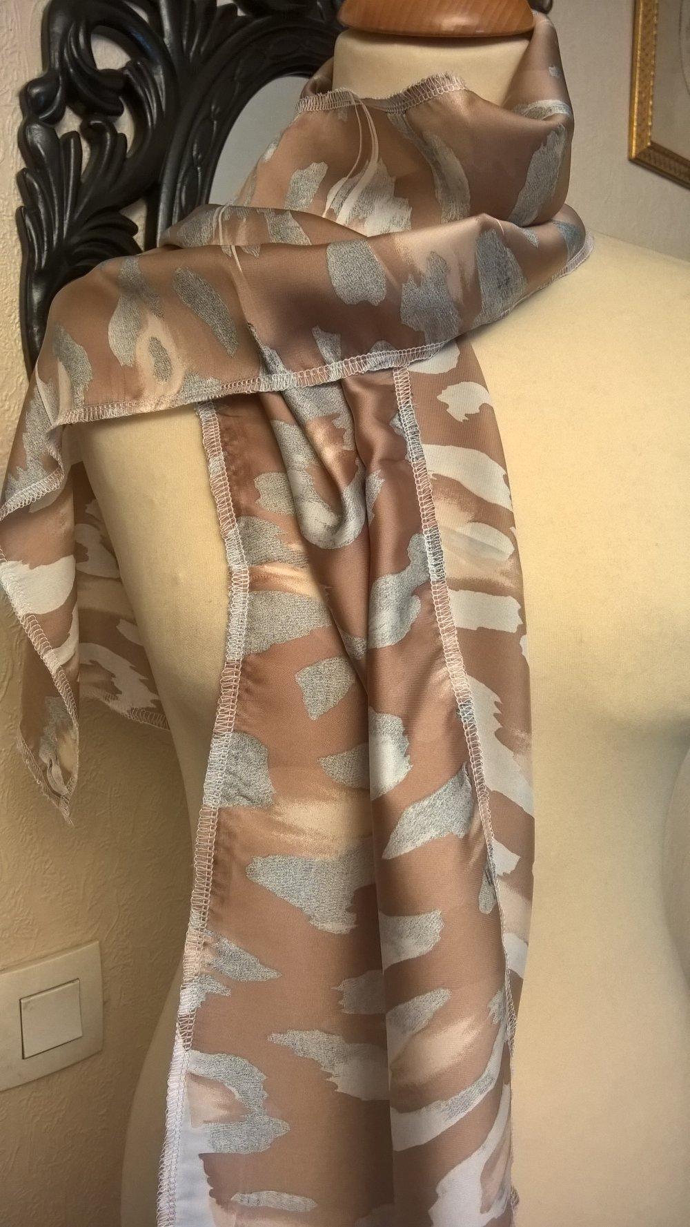 Écharpe fine,en tissu de soie imprimé,de couleur beige et gris,écharpe femme,écharpe fille,cadeau femme