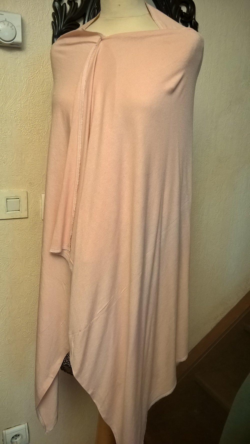 Étole de mariage,en maille de coton et élasthanne,de couleur rose,écharpe femme,écharpe fille,cadeau femme