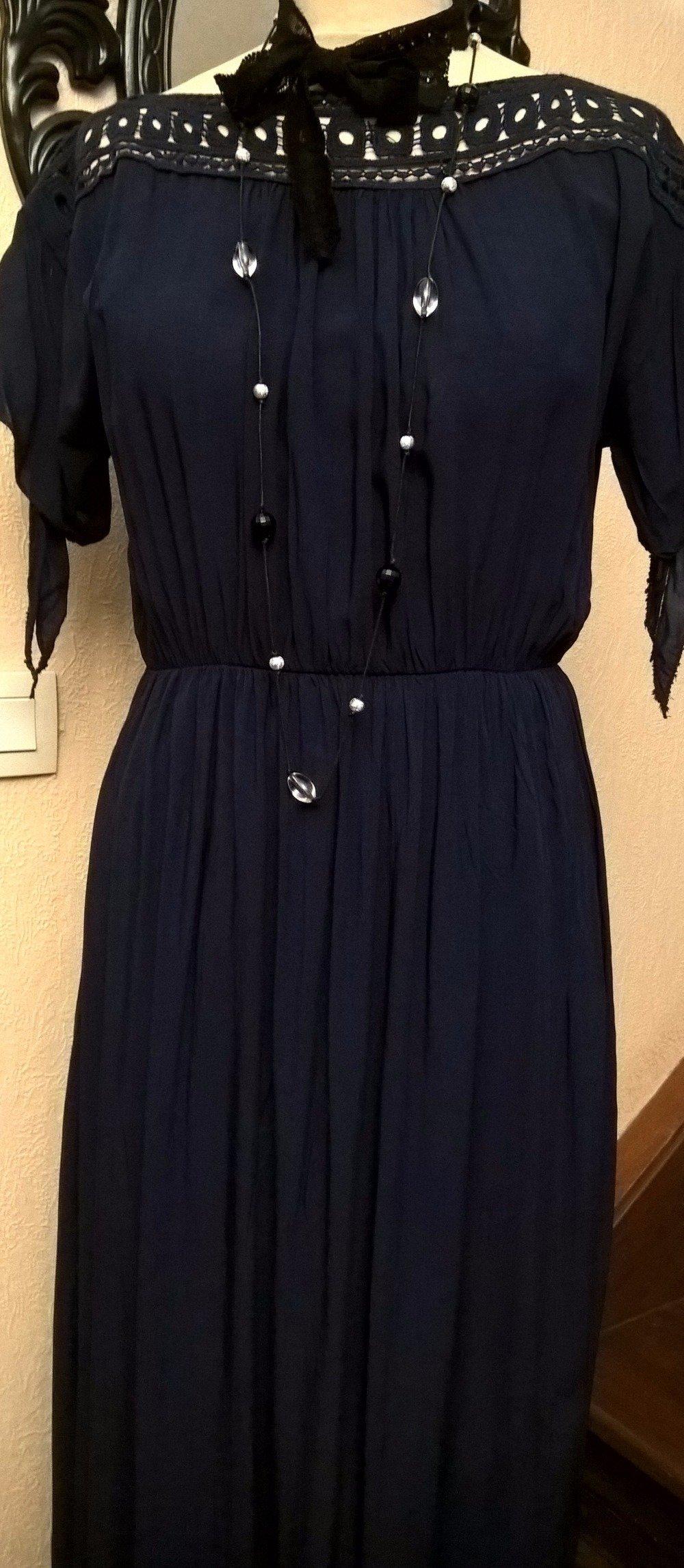 Robe longue,soie et viscose,couleur bleu marine,robe femme,robe fille,cadeau femme
