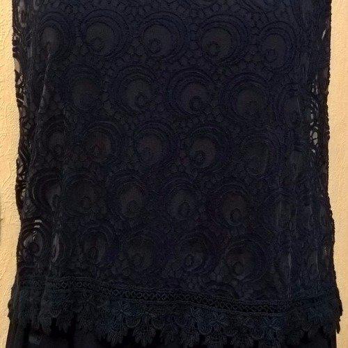 Robe longue femme,soie et viscose,dentelle bleu,robe fille,cadeau femme,cadeau fille,vêtements