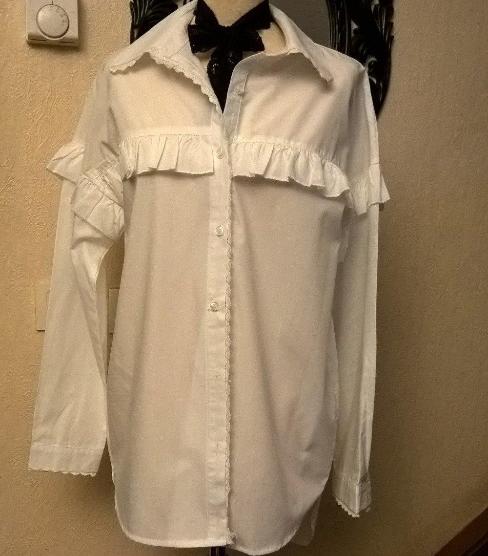 Chemise longue,coton et dentelle blanche, femme,Chemise fille