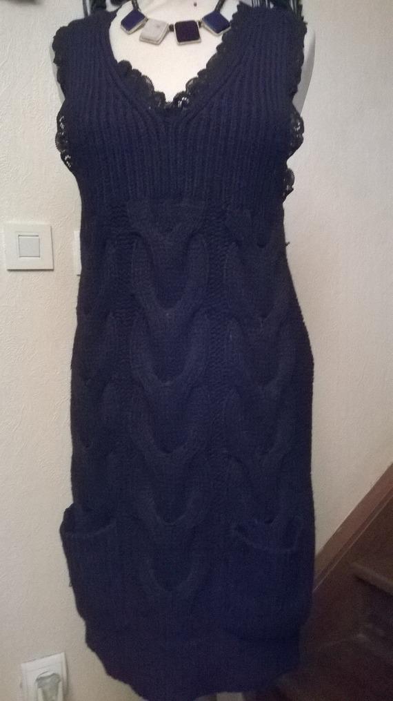 Robe en tricot coton et acrylique couleur noir