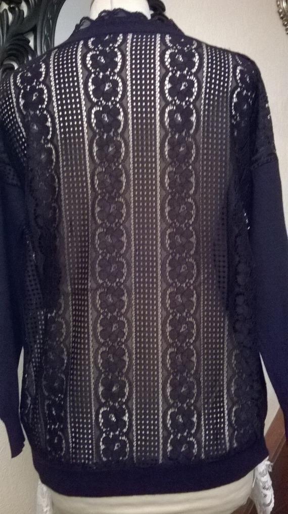 Pull noir chiné,coton et viscose,dentelle de coton noire