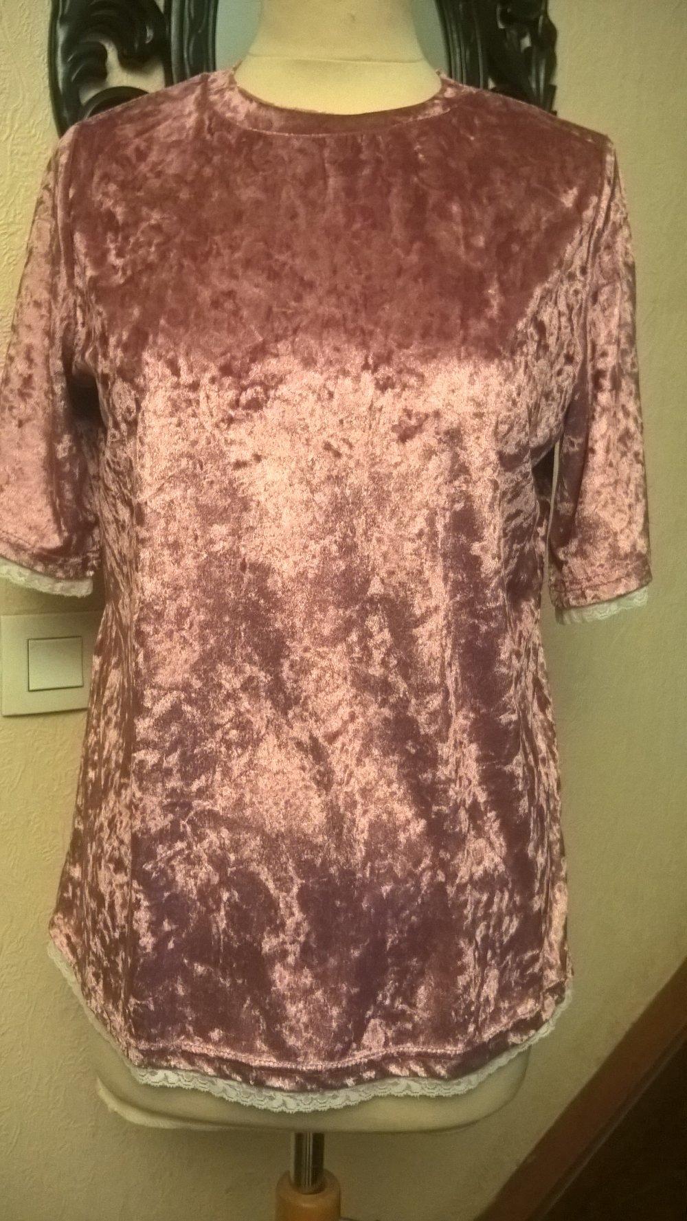 Tee shirt femme,manches courtes,velours et dentelle,plusieurs couleurs,tee shirt fille,vêtements femme,vêtements fille,cadeau
