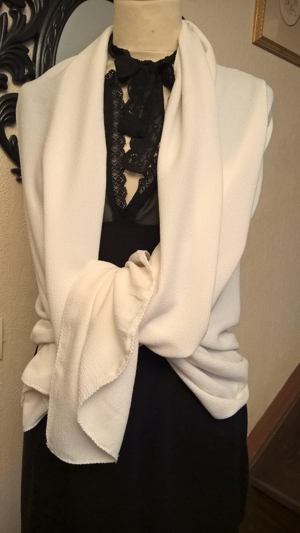 Étole de mariage,en tissu crêpe de couleur crème ivoire