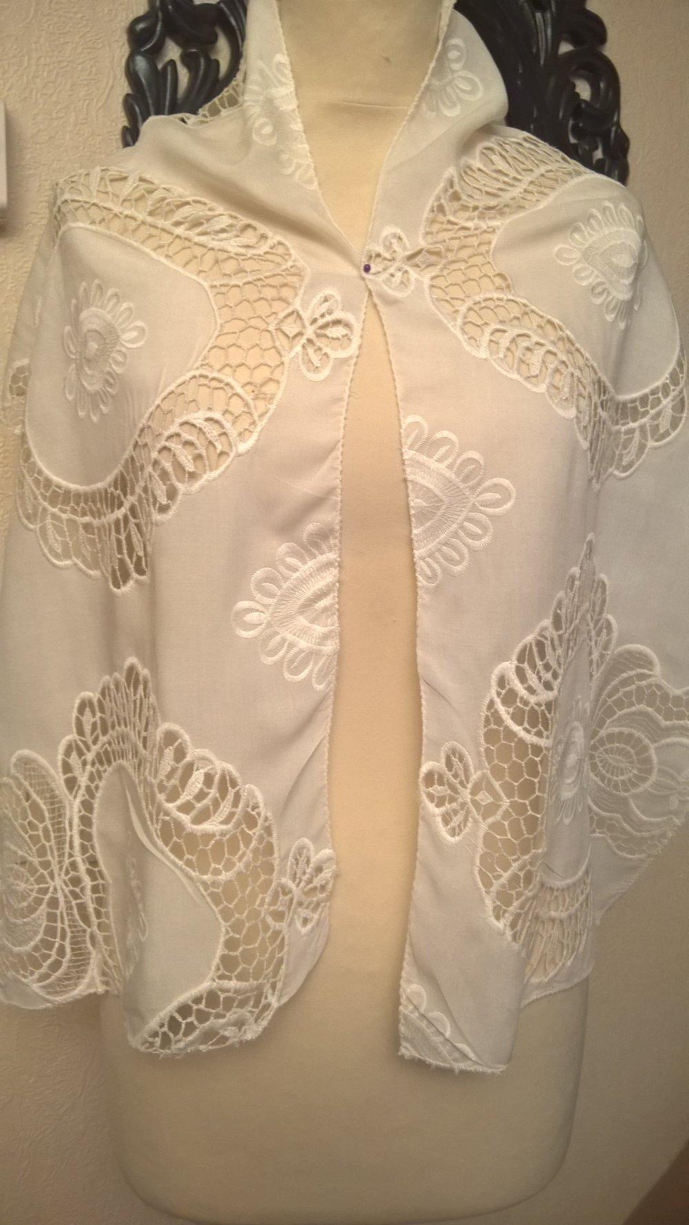 Écharpe brodé,en coton couleur crème,écharpe femme,écharpe fille,vêtements femme