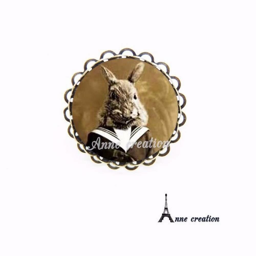 bague portrait d'un lapin