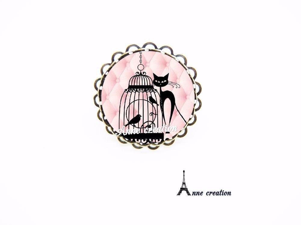 bague chat noir cage oiseau rose