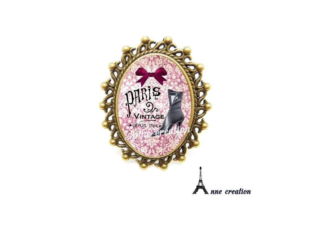bague les bottines noires Paris vintage noeud rose