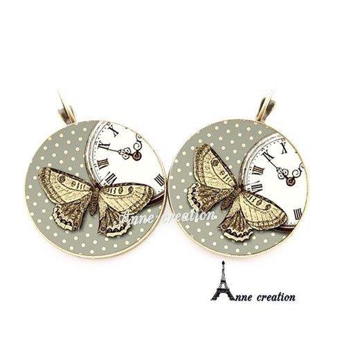 Boucle d'oreille rétro papillon pendule pois vert