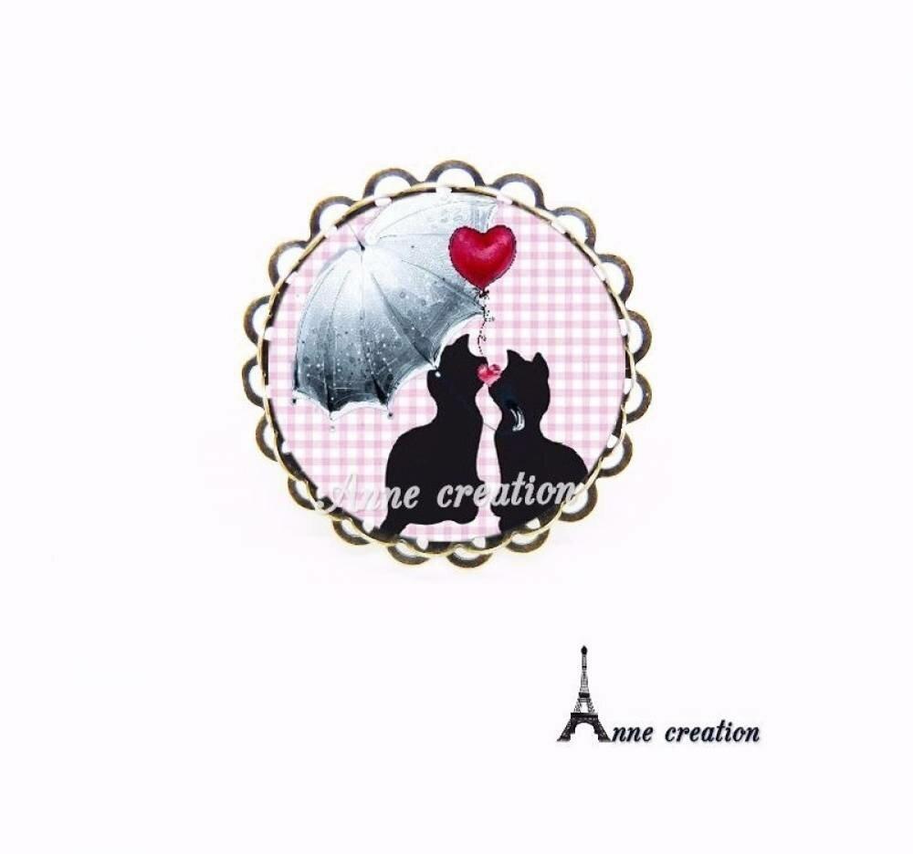 bague les minous chats noirs parapluie coeur