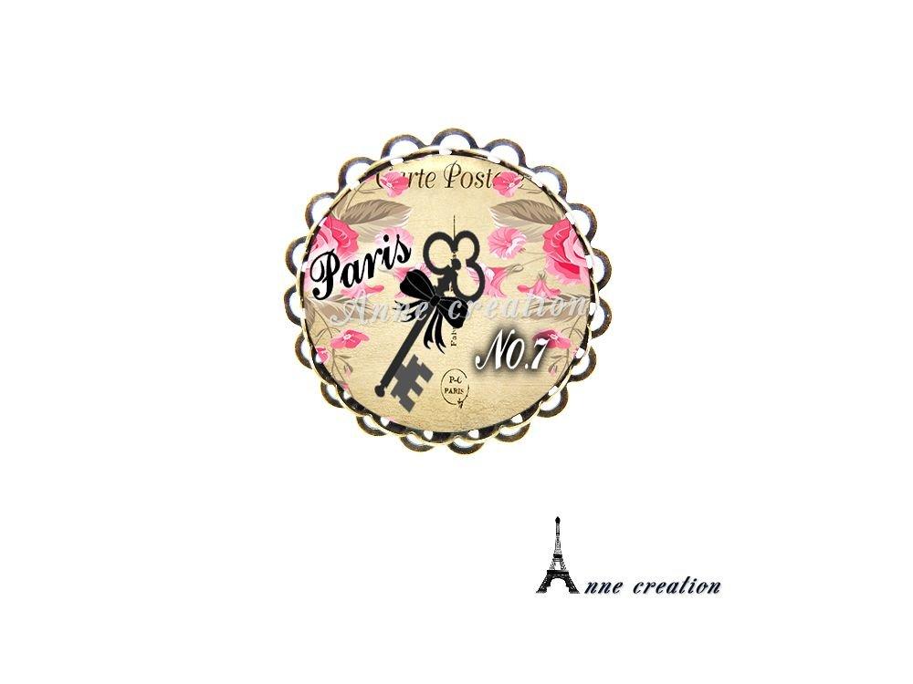 boucle d'oreille clé noeud noir carte postale fleur Paris
