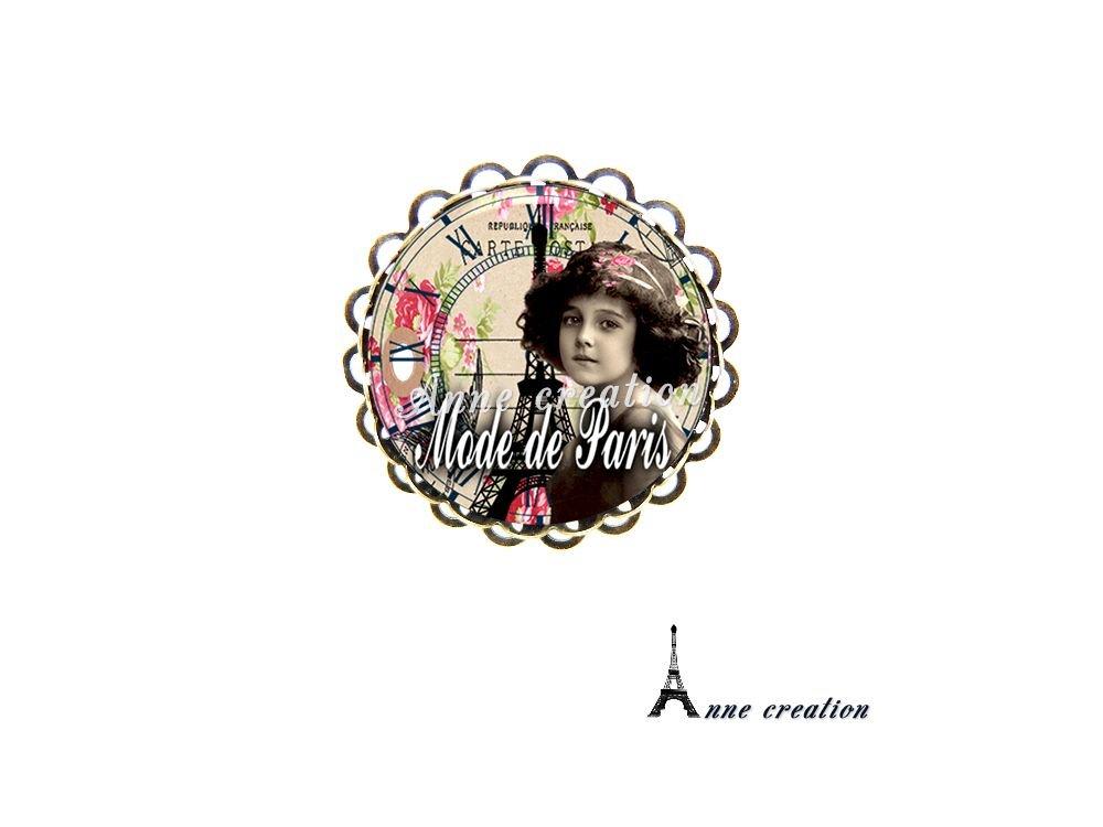 bague mode de Paris petite vintage tour Eiffel fleur pendule