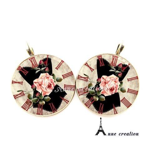 Boucle d'oreille rétro corset noir fleur pendule