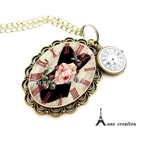 Collier rétro corset noir fleur pendule