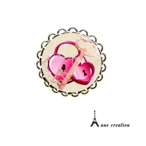 Bague cadenas coeur grande clé rose