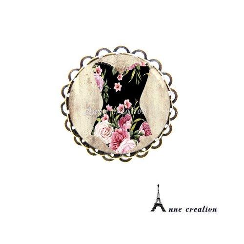 Bague rétro corset noir fleuri