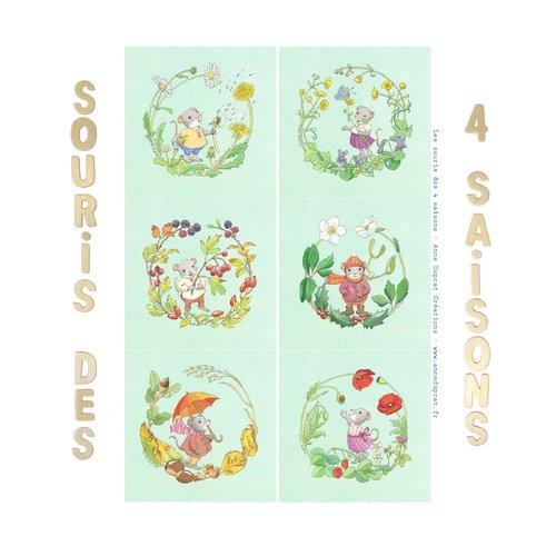 Lot de 6 coupons illustrés, les souris des 4 saisons sur fond bleu