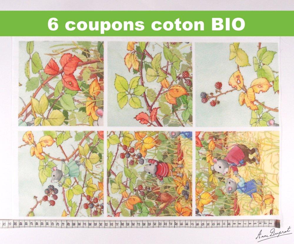 """Lot de 6 coupons illustrés """"la cueillette des mûres"""" en coton biologique"""