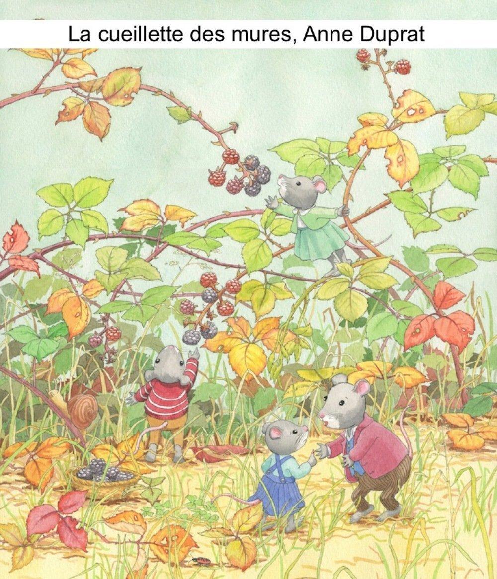 Affiche pour enfant- les souris en automne - les mûres
