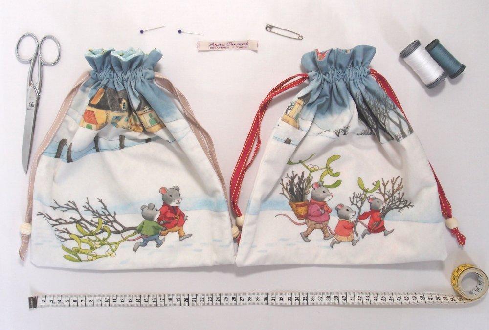 Kit DIY couture du pochon souricettes en hiver