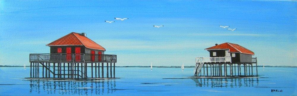 tableau, peinture sur toile, cabanes tchanquées,  panoramique