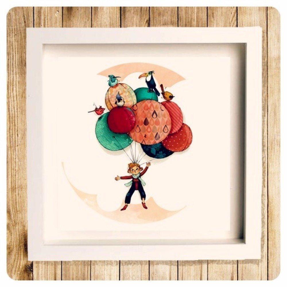 « Voyage en ballons », reproduction signée 23x23cm.